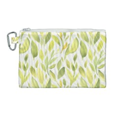 Green Leaves Nature Patter Canvas Cosmetic Bag (large) by paulaoliveiradesign