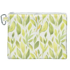 Green Leaves Nature Patter Canvas Cosmetic Bag (xxl) by paulaoliveiradesign