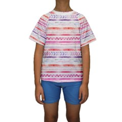 Watercolor Tribal Pattern Kids  Short Sleeve Swimwear