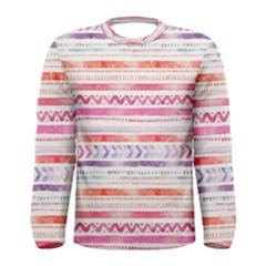 Watercolor Tribal Pattern Men s Long Sleeve Tee
