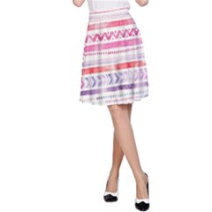 Watercolor Tribal Pattern A Line Skirt
