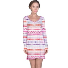 Watercolor Tribal Pattern Long Sleeve Nightdress