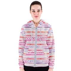 Watercolor Tribal Pattern Women s Zipper Hoodie