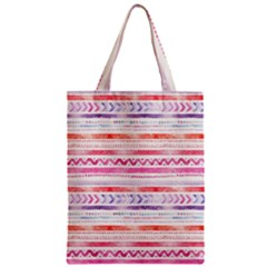 Watercolor Tribal Pattern Zipper Classic Tote Bag by tarastyle