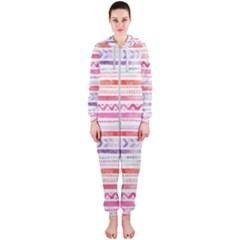 Watercolor Tribal Pattern Hooded Jumpsuit (ladies)