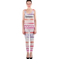 Watercolor Tribal Pattern One Piece Catsuit