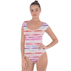 Watercolor Tribal Pattern Short Sleeve Leotard