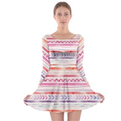 Watercolor Tribal Pattern Long Sleeve Skater Dress