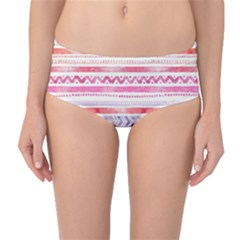 Watercolor Tribal Pattern Mid Waist Bikini Bottoms