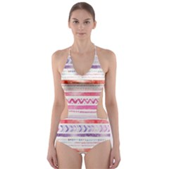 Watercolor Tribal Pattern Cut Out One Piece Swimsuit