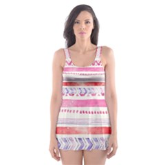 Watercolor Tribal Pattern Skater Dress Swimsuit