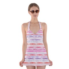 Watercolor Tribal Pattern Halter Dress Swimsuit