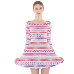 Watercolor Tribal Pattern Long Sleeve Velvet Skater Dress