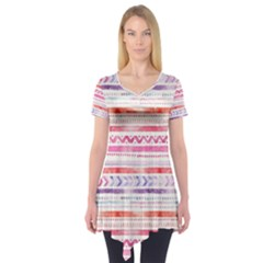 Watercolor Tribal Pattern Short Sleeve Tunic