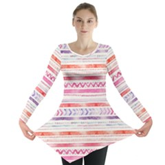 Watercolor Tribal Pattern Long Sleeve Tunic