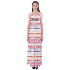 Watercolor Tribal Pattern Empire Waist Maxi Dress