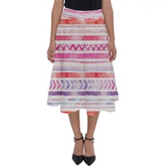 Watercolor Tribal Pattern Perfect Length Midi Skirt