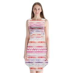 Watercolor Tribal Pattern Sleeveless Chiffon Dress