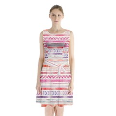 Watercolor Tribal Pattern Sleeveless Waist Tie Chiffon Dress