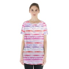Watercolor Tribal Pattern Skirt Hem Sports Top
