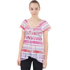 Watercolor Tribal Pattern Lace Front Dolly Top