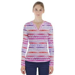 Watercolor Tribal Pattern V Neck Long Sleeve Top