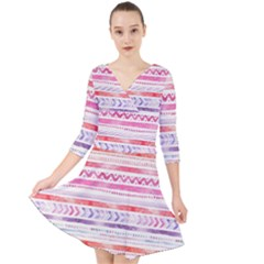 Watercolor Tribal Pattern Quarter Sleeve Front Wrap Dress