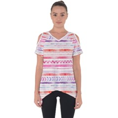 Watercolor Tribal Pattern Cut Out Side Drop Tee