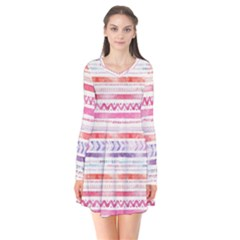Watercolor Tribal Pattern Flare Dress