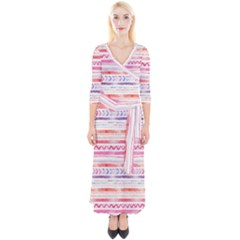 Watercolor Tribal Pattern Quarter Sleeve Wrap Maxi Dress