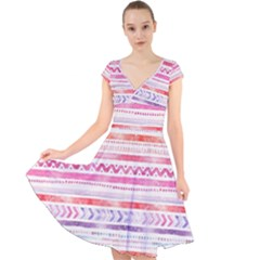 Watercolor Tribal Pattern Cap Sleeve Front Wrap Midi Dress