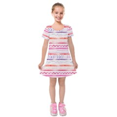 Watercolor Tribal Pattern Kids  Short Sleeve Velvet Dress