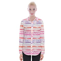 Watercolor Tribal Pattern Womens Long Sleeve Shirt