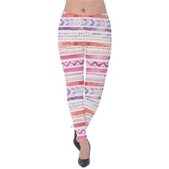 Watercolor Tribal Pattern Velvet Leggings