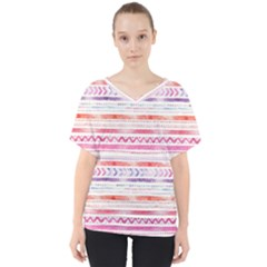 Watercolor Tribal Pattern V Neck Dolman Drape Top