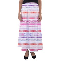 Watercolor Tribal Pattern Flared Maxi Skirt