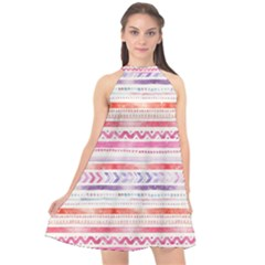 Watercolor Tribal Pattern Halter Neckline Chiffon Dress