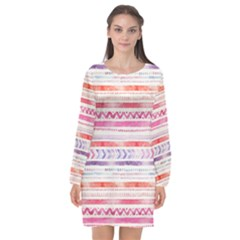 Watercolor Tribal Pattern Long Sleeve Chiffon Shift Dress