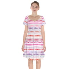 Watercolor Tribal Pattern Short Sleeve Bardot Dress