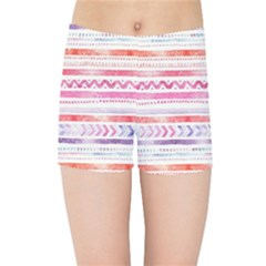 Watercolor Tribal Pattern Kids Sports Shorts