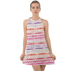 Watercolor Tribal Pattern Halter Tie Back Chiffon Dress