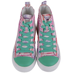 Watercolor Tribal Pattern Women s Mid Top Canvas Sneakers