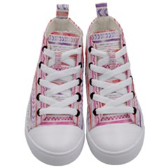 Watercolor Tribal Pattern Kid s Mid Top Canvas Sneakers