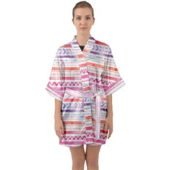 Watercolor Tribal Pattern Quarter Sleeve Kimono Robe