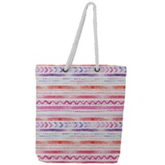 Watercolor Tribal Pattern Full Print Rope Handle Tote (large)
