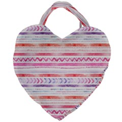 Watercolor Tribal Pattern Giant Heart Shaped Tote