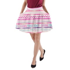 Watercolor Tribal Pattern  A Line Pocket Skirt by tarastyle