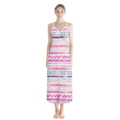 Watercolor Tribal Pattern  Button Up Chiffon Maxi Dress