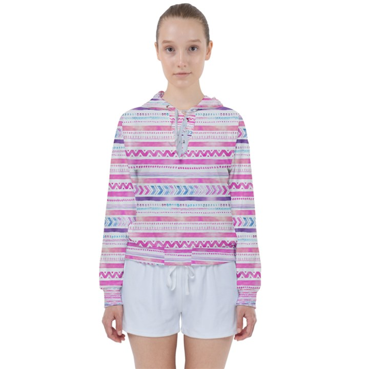 Watercolor Tribal Pattern  Women s Tie Up Sweat