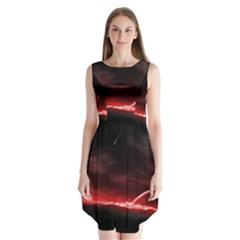 Outer Space Red Stars Star Sleeveless Chiffon Dress